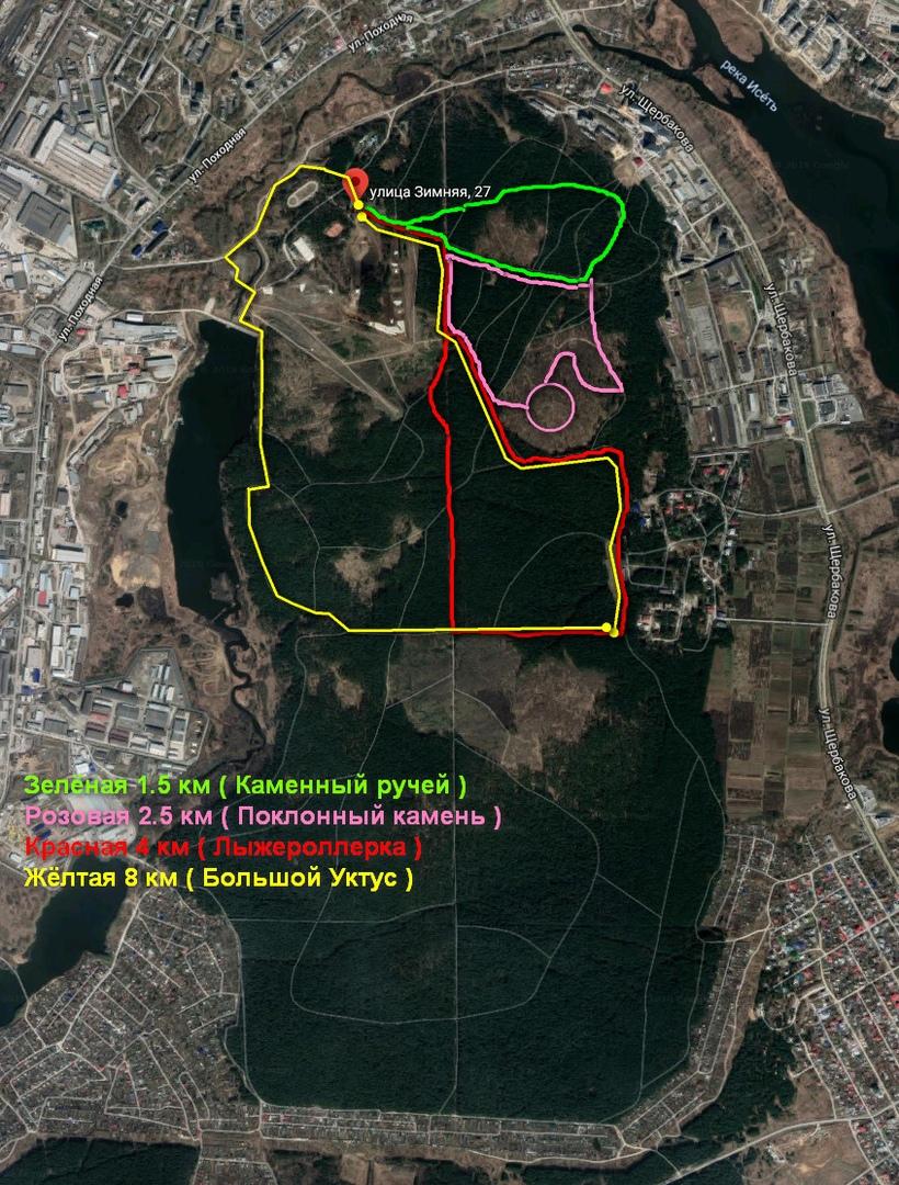 Карта Трасс прокат велосипедов Екатеринбург Уктус